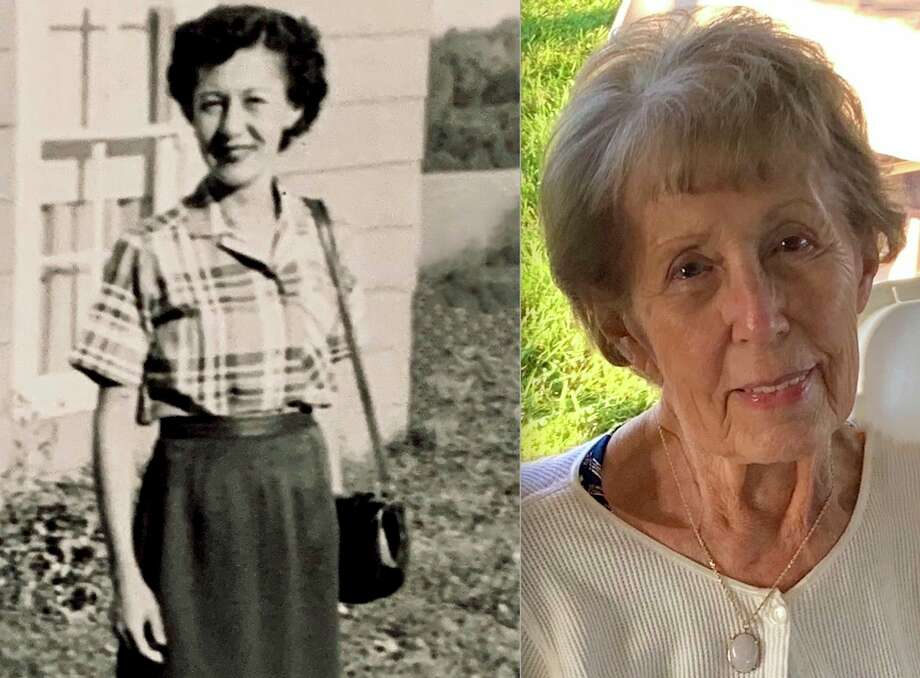 From left, in this 1953 photo provided by Kristine Szot-Schult, is Gladys Szot, dressed and ready for her first day of work at JCPenney in downtown Big Rapids. Featured on the right is a photo of Gladys Szot from 2019. JCPenney recently announced its closure last month. Gladys Szot spent some time reliving her memories at the downtown department store with the Pioneer. (Courtesy photo)
