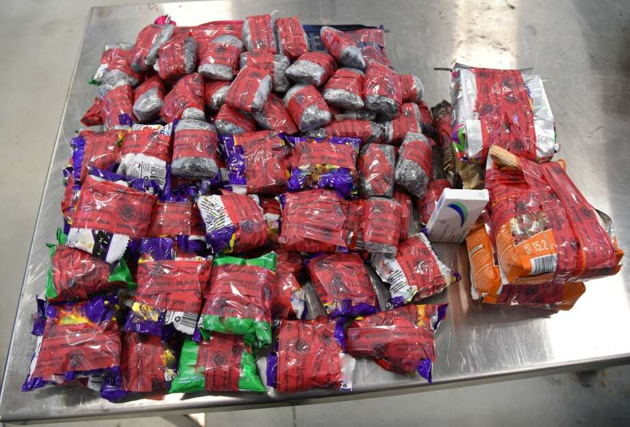 U.S. Customs and Border Protection officers seized heroin, meth and opiod pain medication in a single enforcement action over the weekend. Photo: Courtesy