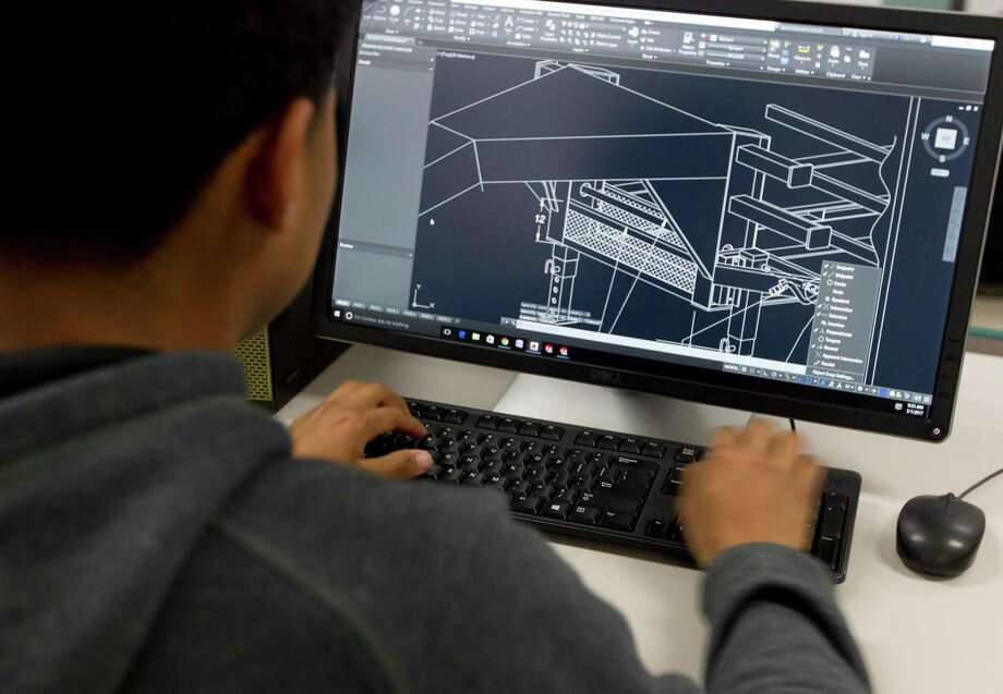 Willis High School senior Marco Gonzalez, 17, works on an AutoCAD project at Willis High School Wednesday, March 1, 2017, in Willis. Willis seniors Gonzalez and fellow senior Gabriel Ramire are preparing to take their engineering certification test as part of the district's engineering class. Willis ISD plans to open a $39.4 million Career and Technology Education building as part of the $109.5 million bond pass in November 2015. Photo: Jason Fochtman, Staff Photographer / Houston Chronicle / © 2017 Houston Chronicle