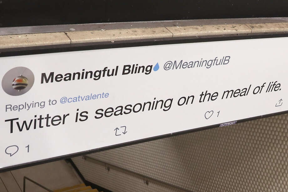 Tweets are displayed on Twitter billboard ads inside Powell Street station on Thursday, Sept. 12, 2019 in San Francisco, Calif. Photo: Liz Hafalia / The Chronicle