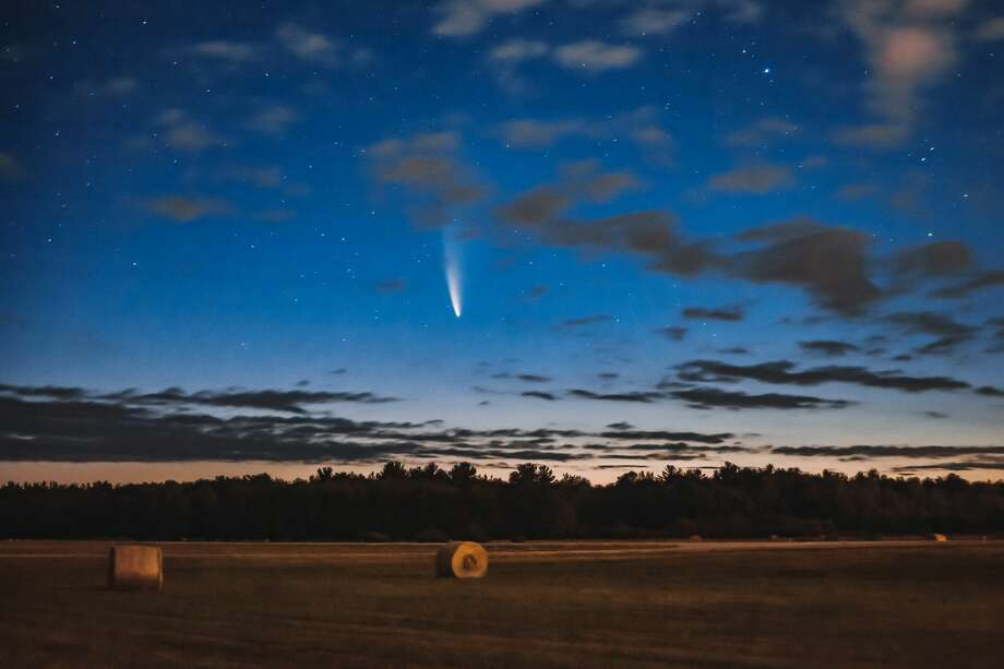 The Comet Neowise is seen above the horizon from a field near Jack Barstow Airport in the early morning hours of Monday, July 13, 2020. (Photo provided/Daniel Libbey) Photo: (Photo Provided/Daniel Libbey)