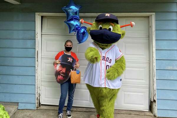 The Astros' mascot Orbit stopped by to visit 15-year-old Lourdes Rodriguez, who is cancer-free after battling Hodgkin's Lymphoma, at her Galena Park home on Wednesday, July 15, 2020.