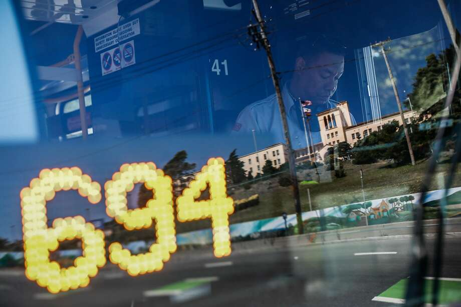 Essential worker and MUNI bus driver Shaun Reeves is seen through his windshield as he begins his route in San Francisco, California on Thursday, July 2, 2020. At the start of the pandemic Shaun volunteered to drive a special bus route for those potentially sick with COVID-19. Photo: Gabrielle Lurie / The Chronicle