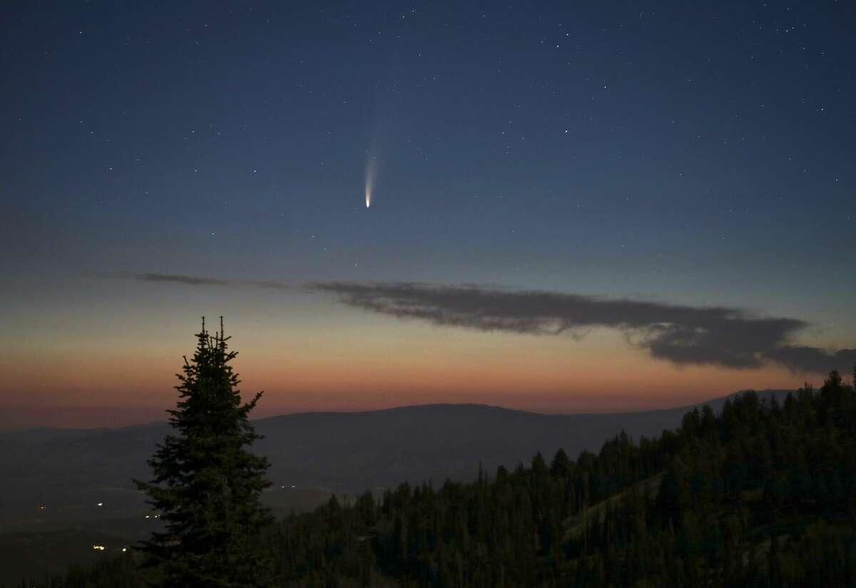 Comet C/2020 F3 (NEOWISE) in the pre-dawn skies on July 9 over Deer Valley, Utah.