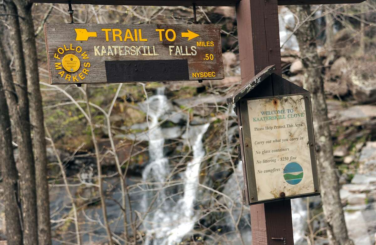 Waterfall on the trail to Kaaterskill Falls on Thursday, April 28, 2016 in Haines Falls, N.Y. The real Kaaterskill Falls are a short hike away. (Lori Van Buren / Times Union)