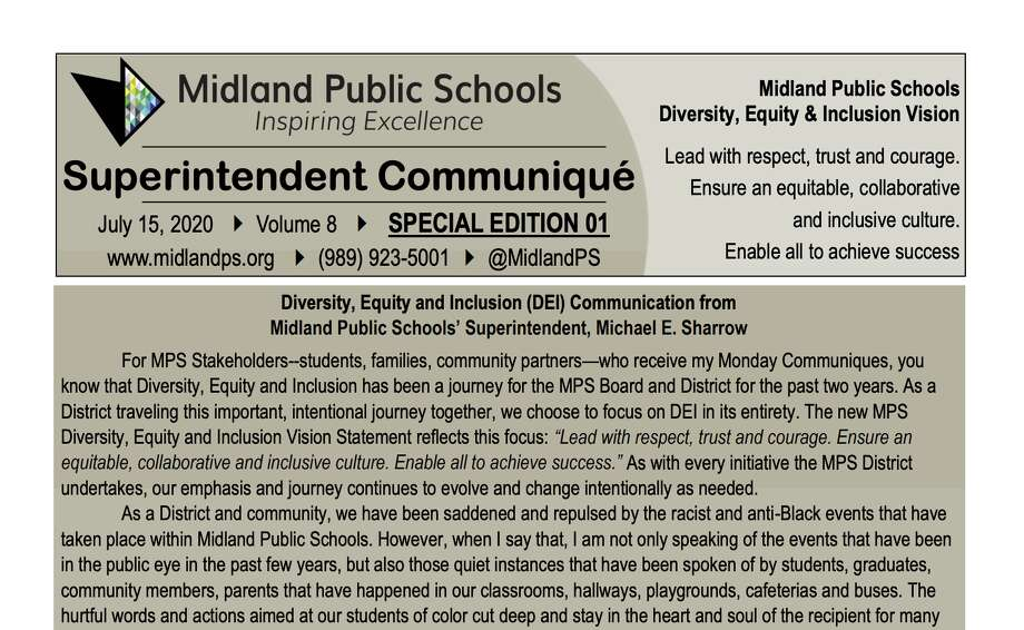 "A screenshot shows the beginning of Midland Public Schools Superintendent Michael Sharrow's ""July 15, 2020 Special Edition Communique Diversity, Equity & Inclusion"" Photo: Screenshot"