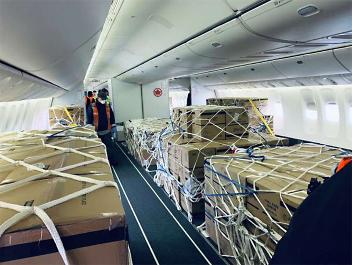 The passenger deck of an Air Canada 777-300ER is seen after conversion to all-cargo.