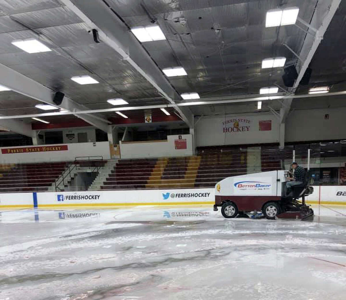 The Ewigleben Ice Arena remains relatively empty and void of public activity due to COVID-19 concerns, but next week it will receive a fresh sheet of ice for whenever action is allowed to return.