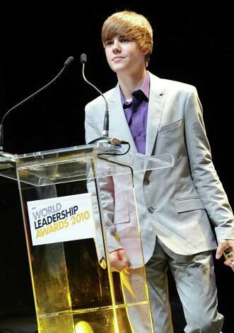Justin Bieber speaks at the New Look Foundation's First Annual World Leadership Awards at Cobb Energy Performing Arts Centre on August 6, 2010 in Atlanta, Georgia.  (Photo by Rick Diamond/Getty Images for Usher's New Look Foundation) Photo: Rick Diamond / 2010 Getty Images