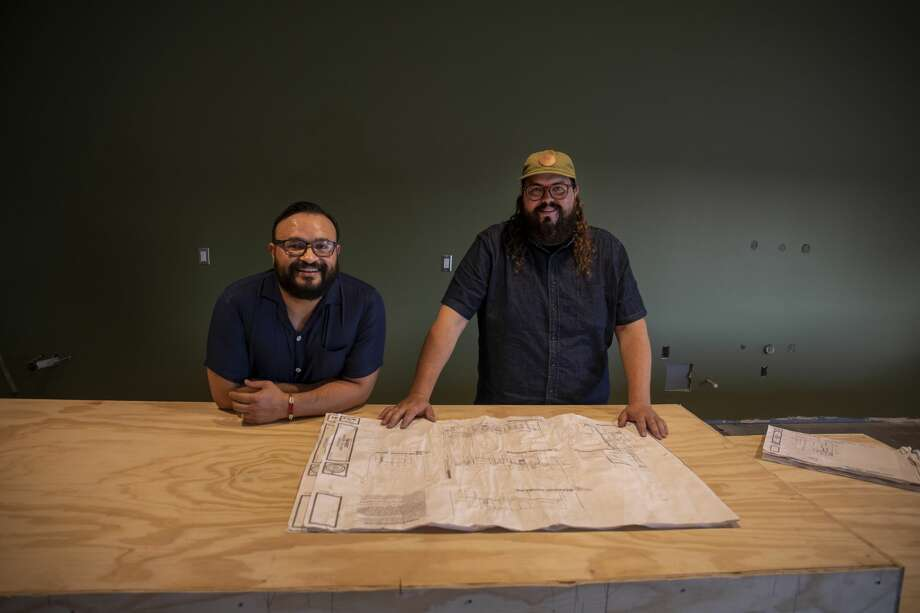 Olaf Lunahe, left, and Christopher Benninghoff pose for a picture in their new coffee shop Far West Coffee on Tuesday, July 14, 2020 at 2040 Cuthbert Avenue. Jacy Lewis/Reporter-Telegram Photo: Jacy Lewis/Reporter-Telegram / Courtesy photo