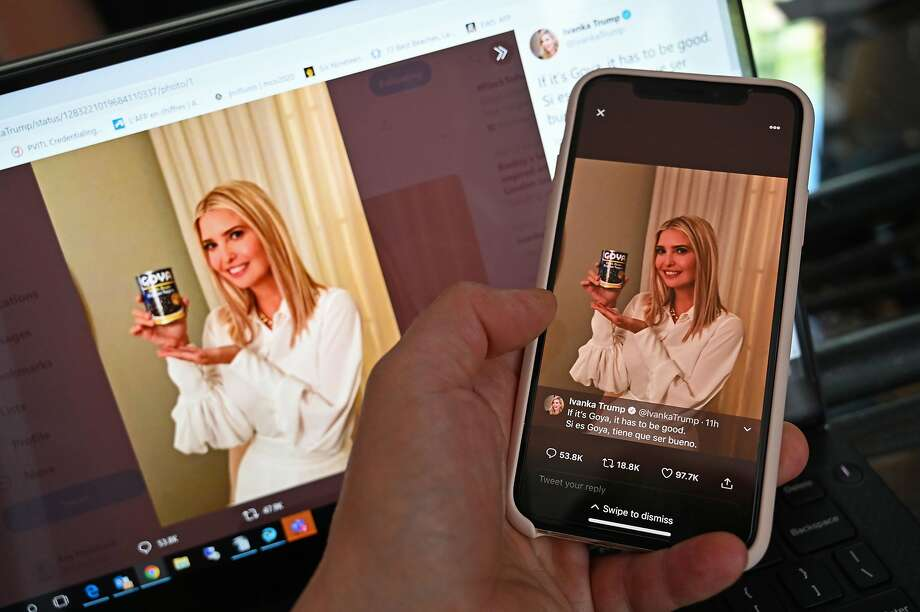 """This photo illustration from Washington, D.C. taken on Wednesday, July 15, 2020 shows a post on the Twitter page of Ivanka Trump, daughter and advisor to U.S. President Donald Trump, in which she holds up a can of Goya beans and reading """"If it's Goya, it has to be good. Si es Goya, tiene que ser bueno."""" (Staff/AFP/Getty Images/TNS) Photo: Staff/afp, TNS"""
