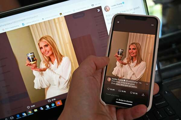 "This photo illustration from Washington, D.C. taken on Wednesday, July 15, 2020 shows a post on the Twitter page of Ivanka Trump, daughter and advisor to U.S. President Donald Trump, in which she holds up a can of Goya beans and reading ""If it's Goya, it has to be good. Si es Goya, tiene que ser bueno."" (Staff/AFP/Getty Images/TNS)"