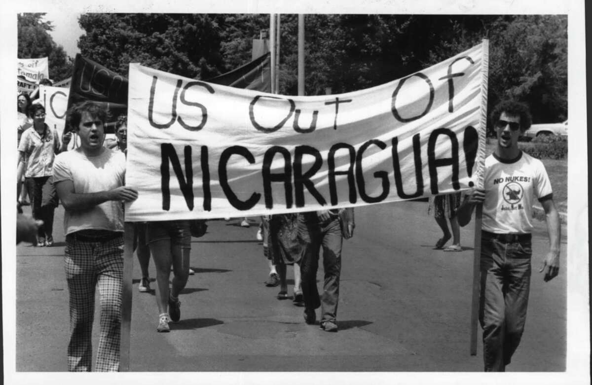 Lancaster Street, Albany, New York - Central American Solidarity Alliance march proceeding east - Central America demonstrations. July 16, 1983 (Bob Richey/Times Union Archive)