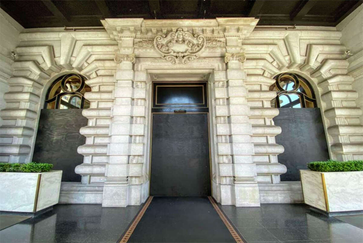 The shuttered front doors of the Fairmont Hotel on Nob Hill in San Francisco after the property closed down this spring.