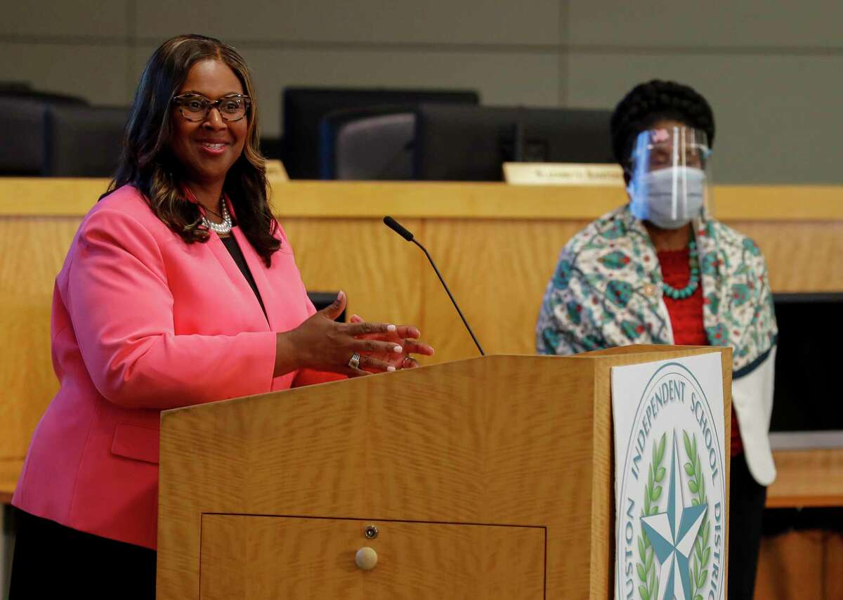 Houston ISD Interim Superintendent Grenita Lathan talks to reporters Wednesday during a press conference to announce plans for restarting the school year in September amid the novel coronavirus pandemic. HISD plans to