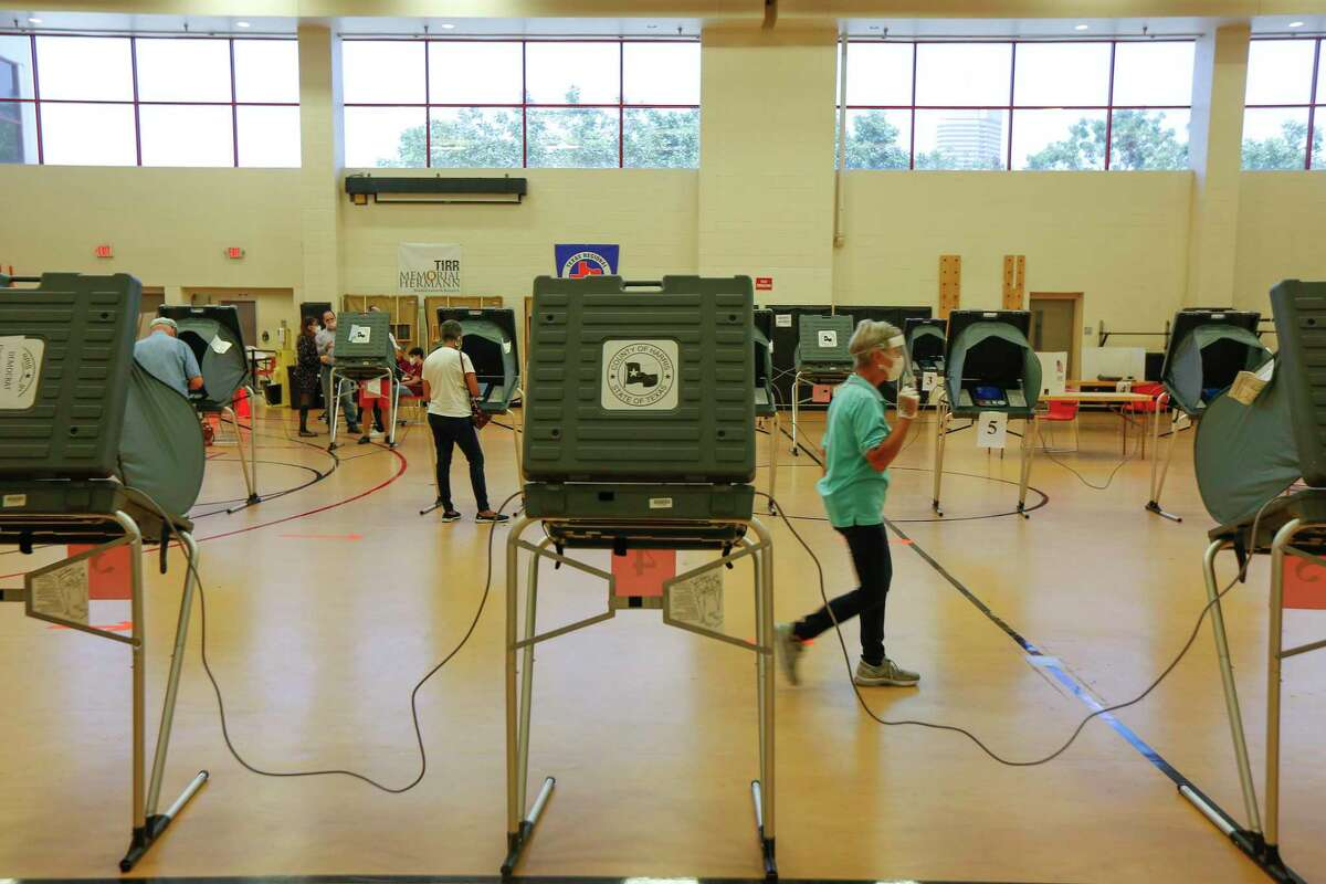 Voting machines inside the Metropolitan Multi-Services Center, 1475 West Gray St., Tuesday, July 14, 2020, in Houston.