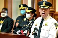 New Haven Police Chief Otoniel Reyes speaks during a press conference Wednesday at New Haven City Hall hosted by Reyes and New Haven Mayor Justin Elicker in July 2020 and attended by community leaders on crime in the city.
