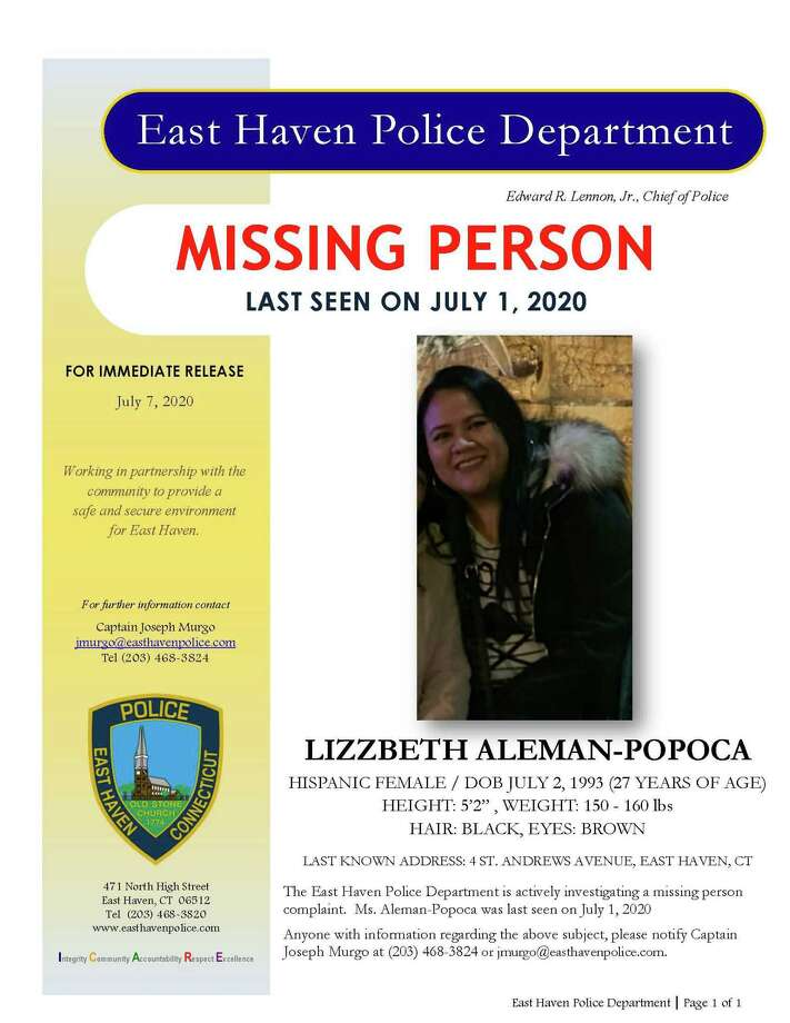 A poster regarding Lizzbeth Aleman-Popoca, who hasn't been seen or heard from since July 1, 2020. Photo: Contributed Photo / East Haven Police Department