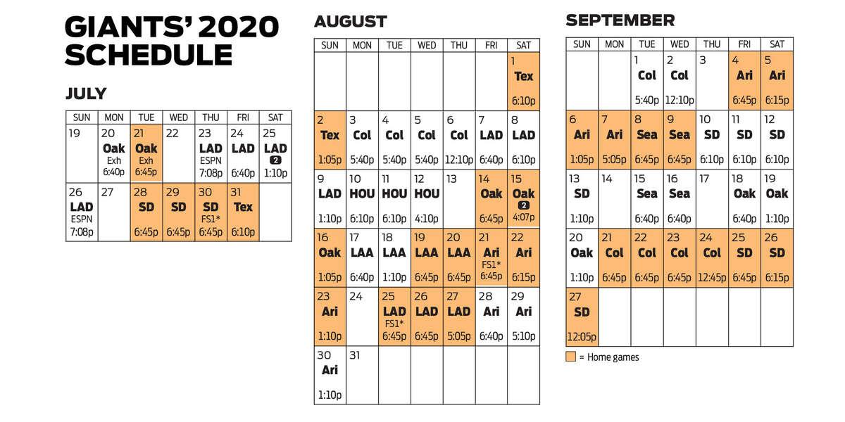 Giants 2020 schedule