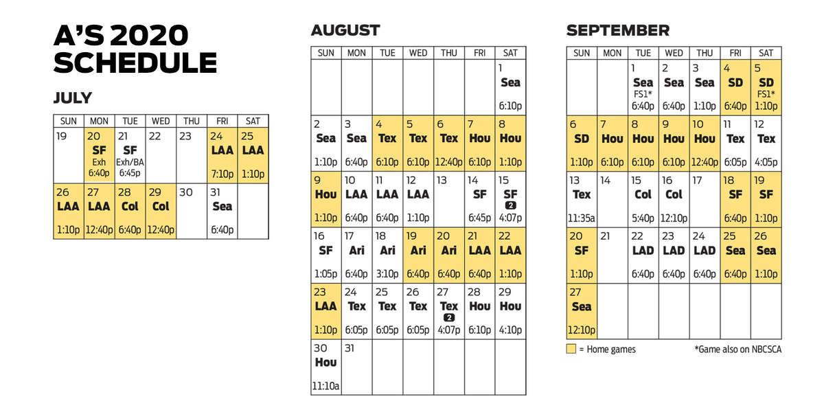 A's 2020 schedule