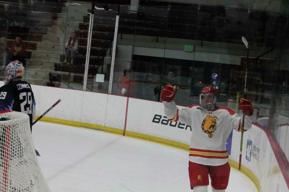 Ferris' Lucas Finner celebrates a goal during a past season. (Pioneer file photo)