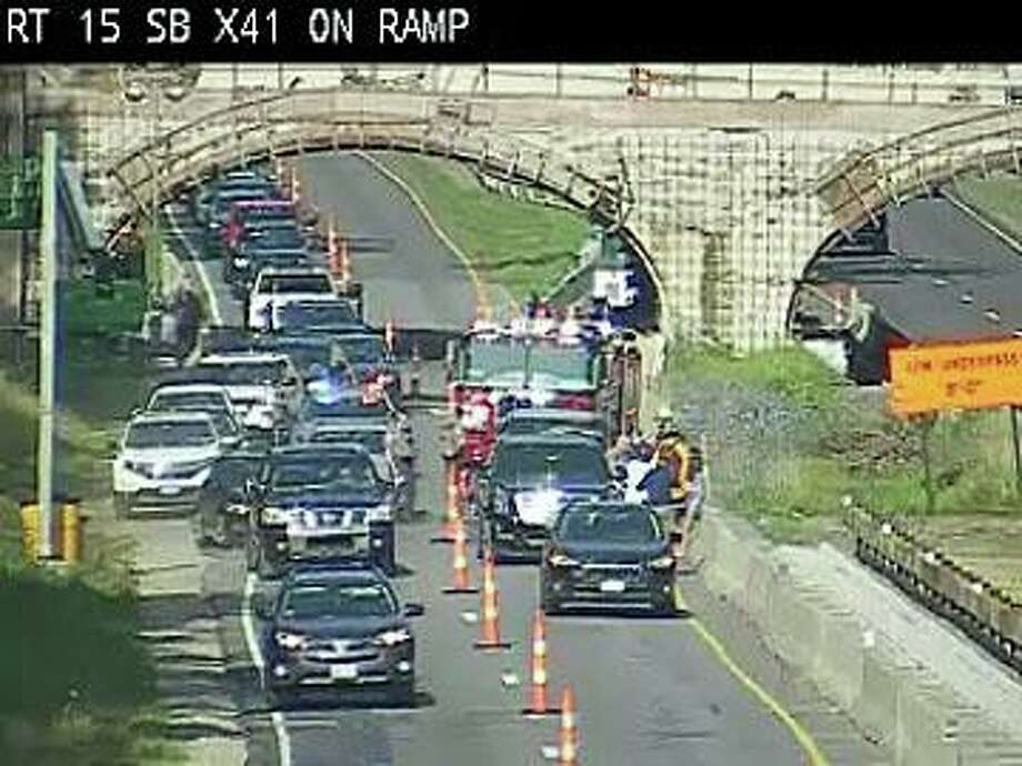 A three-vehicle accident has closed on northbound lane on Merritt Parkway near the Westport/Norwalk border Thursday morning. Photo: Traffic Cam