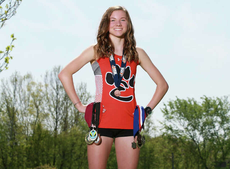 Edwardsville's Riley Knoyle is the 2019 Telegraph Large-Schools Girls Cross Country Runner of the Year. Knoyle became the Tigers' first all-state runner in 21 years with a 20th-place finish at the Class 3A state meet in Peoria. Photo: Billy Hurst, Front Row Photo |For The Telegraph