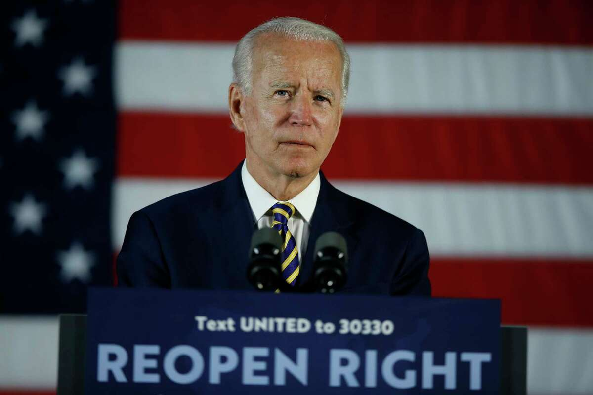 In this June 17, 2020, file photo Democratic presidential candidate, former Vice President Joe Biden pauses while speaking, in Darby, Pa.
