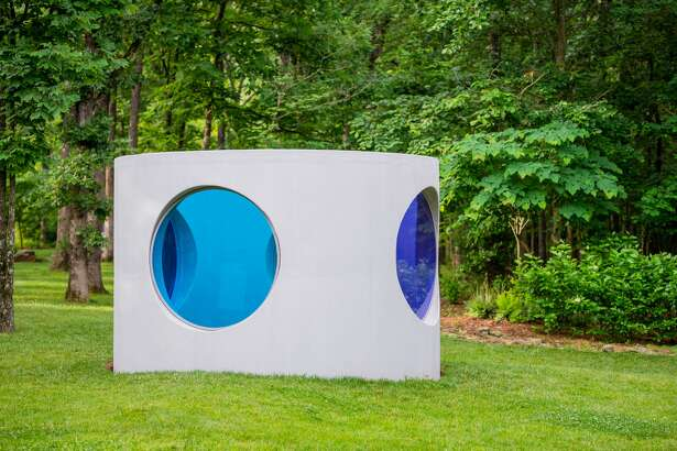 "Sarah Braman (b. 1970). ""Here"", 2019. Concrete drainage pipe, powder-coated aluminum frames, laminated glass. 96 ?- 140 ?- 140 inches. Courtesy of the artist and Mitchell-Innes & Nash, New York. © Ironside Photography"