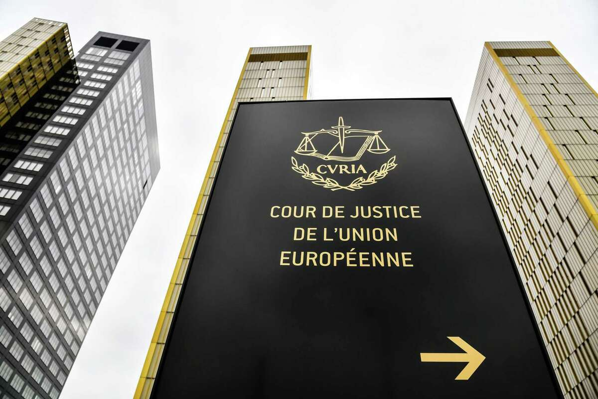 A sign stands outside the European Union Court of Justice buildings in Luxembourg, on July 15, 2019.