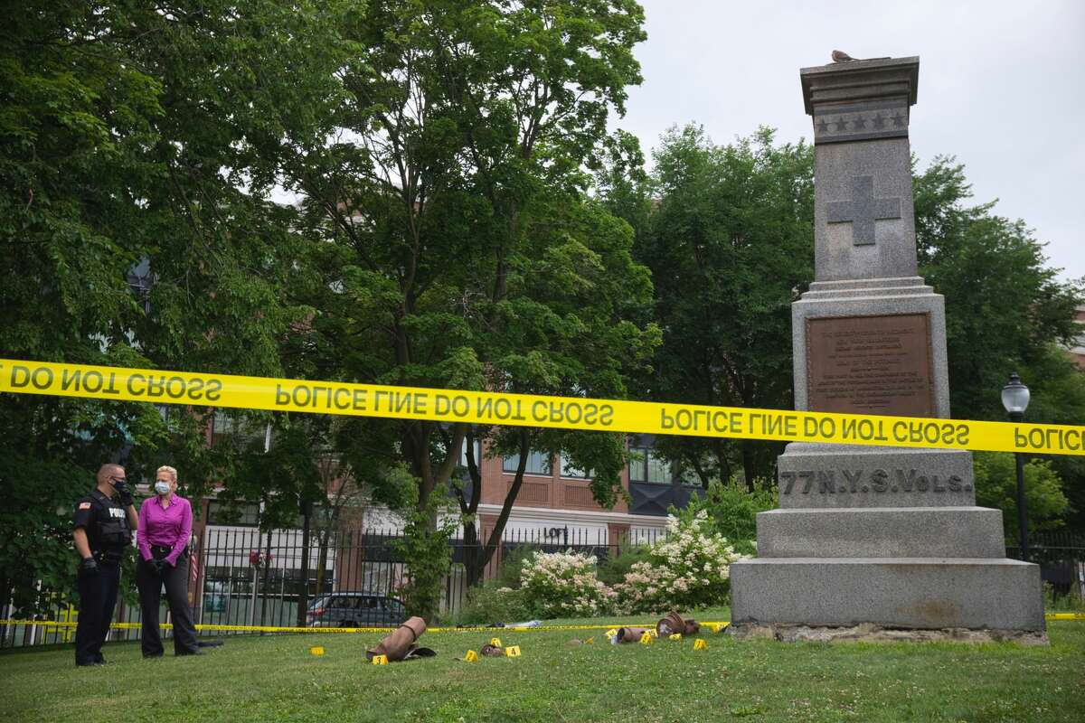 A Civil War statue honoring the Saratoga Regiment that helped the Union Army defeat the Confederacy was smashed into pieces in Congress Park. Commissioner of Public Safety Robin Dalton said the memorial's statue of the Union Army soldier was likely destroyed overnight.