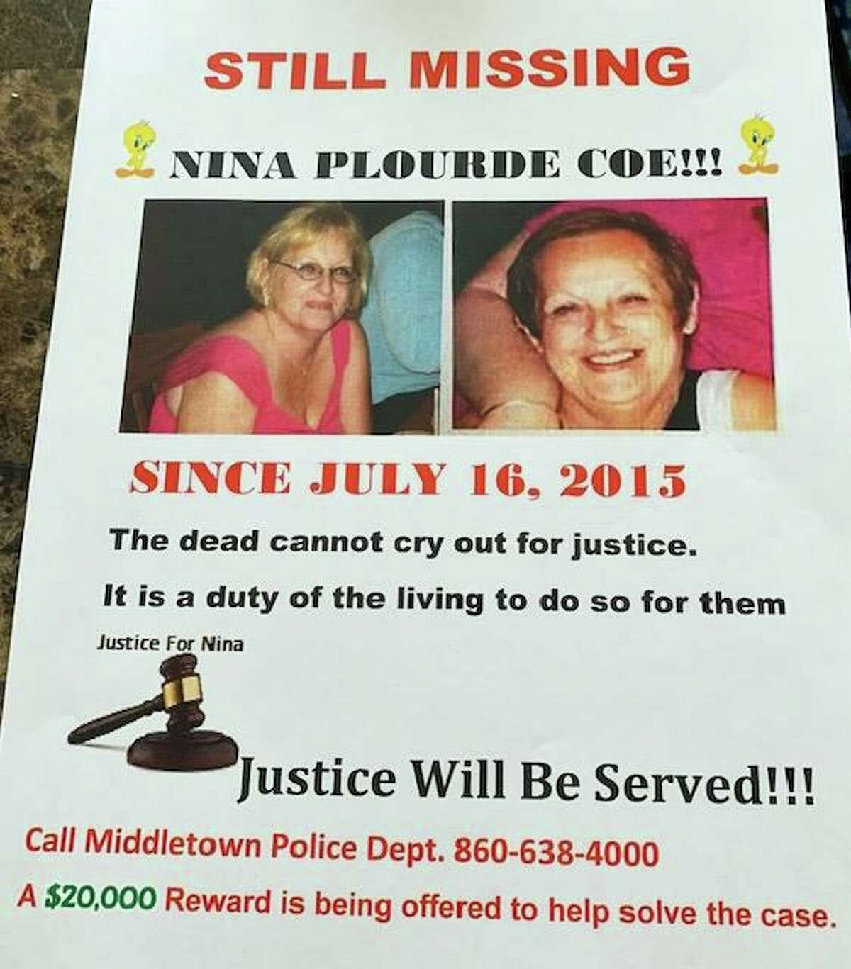 Nina Coe of Middletown went missing July 16, 2015, at age 56.