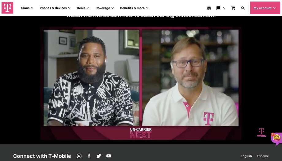 Actor Anthony Anderson and T-Mobile CEO Mike Sievert. Photo: CNET