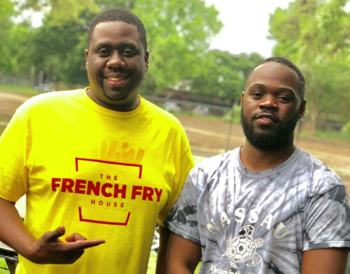 Chef Boi Chops of The French Fry House and KeAndré Jordan of My SOUTHERN Brand. The French Fry House is participating in Houston's Black Restaurant Week.