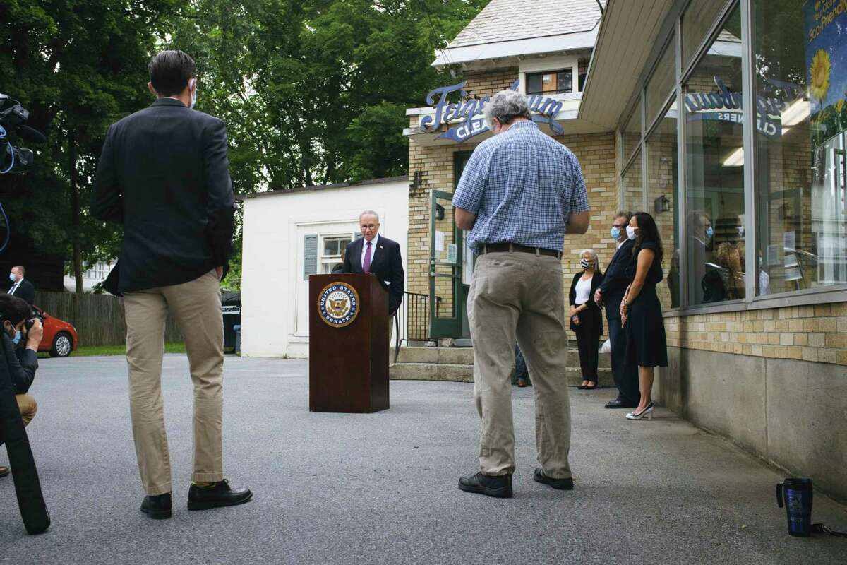 Senator Charles Schumer speaks at a press conference outside of Feigenbaum Cleaners on Thursday, July 16, 2020, in Glens Falls, N.Y. Senator Schumer held the press event to discuss the possibility of another round of PPP money for businesses. (Paul Buckowski/Times Union)