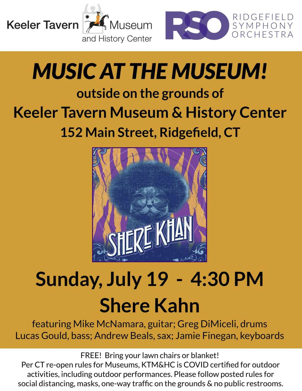 Keeler Tavern Museum & History Center (KTM&C) and Ridgefield Symphony Orchestra (RSO) present Music at the Museum, a free outdoor summer concert series starting Sunday, July 19, at 4:30 p.m.