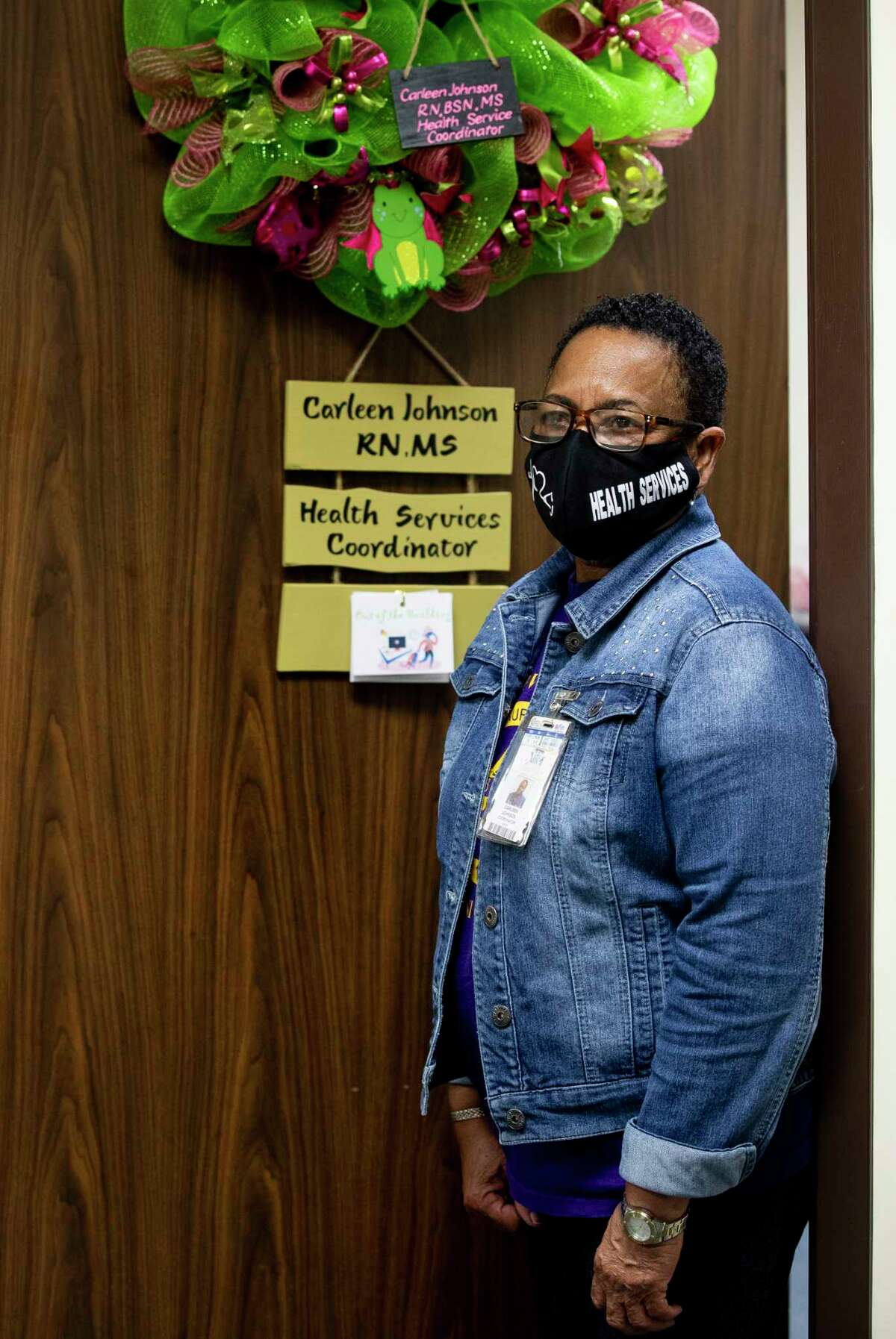 Carleen Johnson, R.N., Health Services Coordinator for Alief Independent School District, poses for a photograph inside her office Thursday, July 9, 2020, in Houston.
