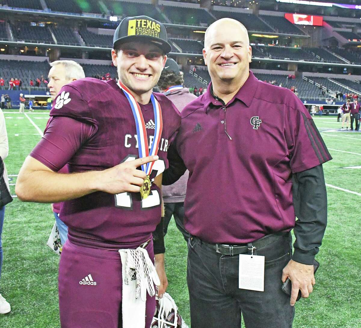 It's no secret that Cy-Fair ISD Superintendent Mark Henry is a football fan and he was one of the first on the football field to congratulate Cy Fair senior quarterback Cam Arnold on the Bobcats state championship win in the 2017 State 6A Division 2 win over Midway.
