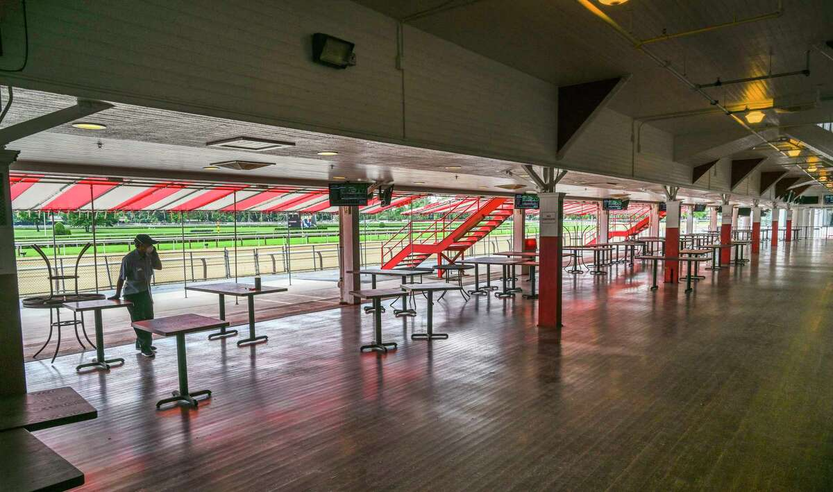 The lower level of the clubhouse is quiet on opening day at the Saratoga Race Course July 16, 2020 in Saratoga Springs, N.Y. Photo by Skip Dickstein/Special to the Times Union.