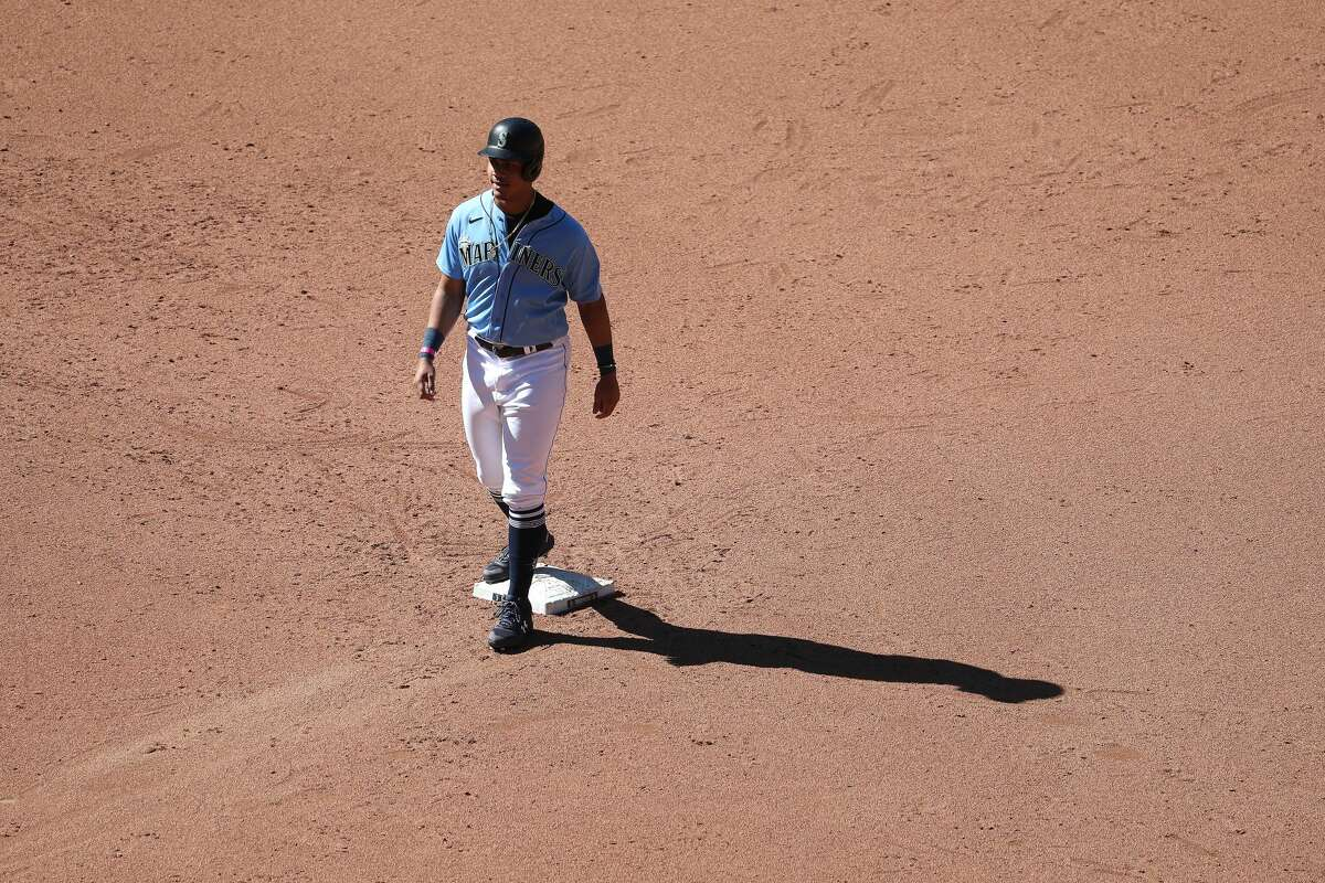 SEATTLE, WASHINGTON - JULY 13: Julio Rodriguez #85 of the Seattle Mariners looks on from second base in the sixth inning during an intrasquad game during summer workouts at T-Mobile Park on July 13, 2020 in Seattle, Washington. (Photo by Abbie Parr/Getty Images)