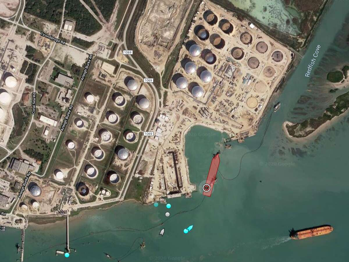 Overhead view of Houston pipeline operator Buckeye Partners's crude oil export terminal in Ingleside.The U.S. imported more crude and petroleum products than it exported in May and June as the pandemic crushed global demand for oil.