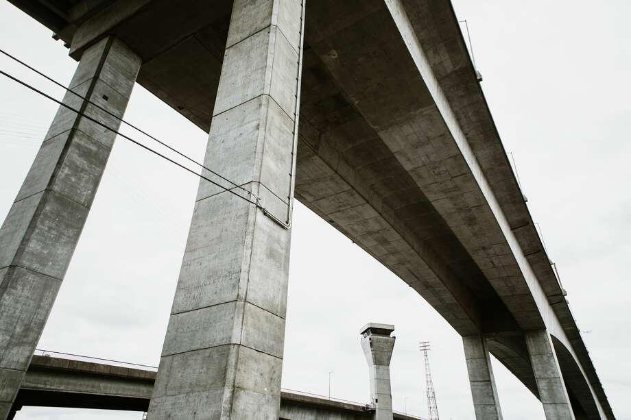 Wide angle shots from underneath an overpass of the West Seattle Bridge in Washington state, USA. The bridge is closed for the foreseeable future due to cracks in the structure, making it unsafe for vehicle traffic. Photo: RyanJLane/Getty Images/iStockphoto
