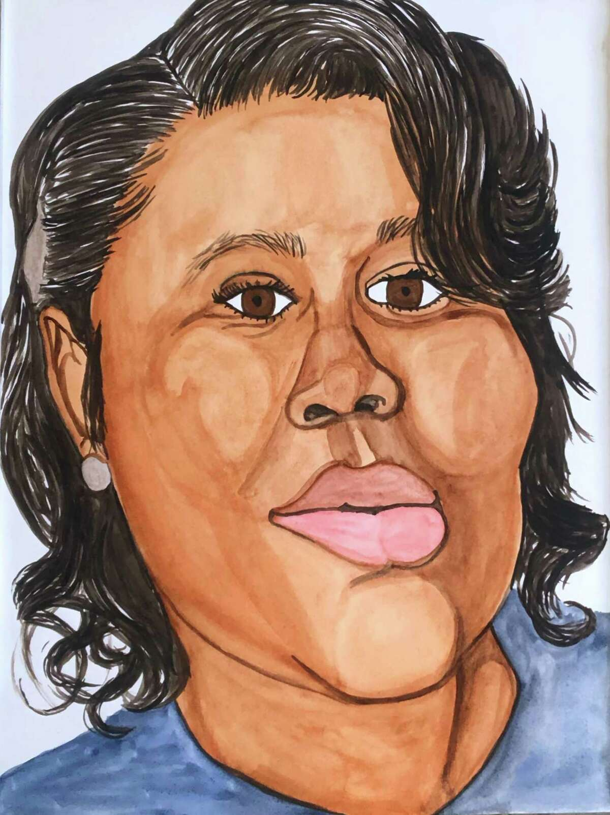 Breonna Taylor, a 26-year-old emergency medical technician shot 8 times by Louisville Police who entered her apartment without knocking, 2020. This is one of the portraits that will be included in the Aldrich Contemporary Art Museum's exhibit