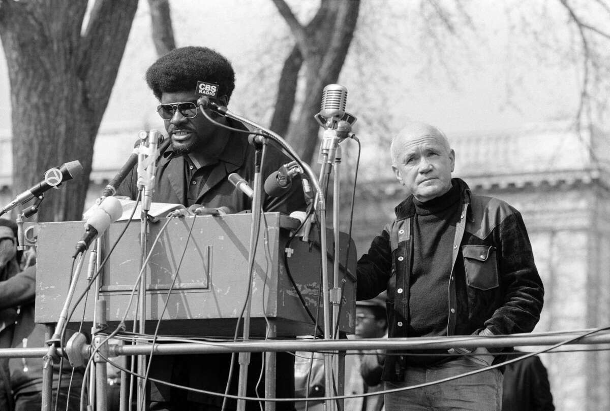 """American social and political activist and a founding member of the Black Panther Party Elbert """"Big Man"""" Howard speaks at a rally, New Haven, Connecticut, May 1, 1970."""