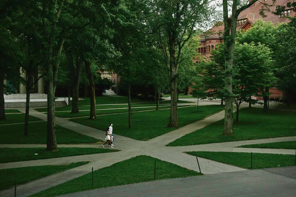 Harvard stands nearly empty July 8 in Cambridge, Mass. Harvard and the Massachusetts Institute of Technology asked a court to protect foreign students.