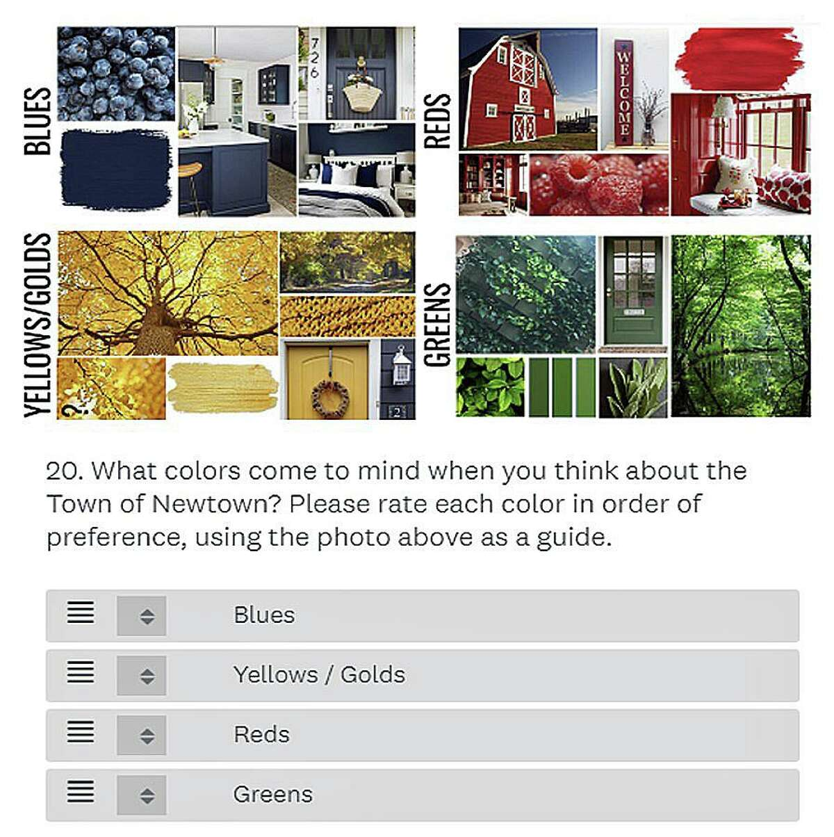 A sample survey question for Newtown's branding campaign.