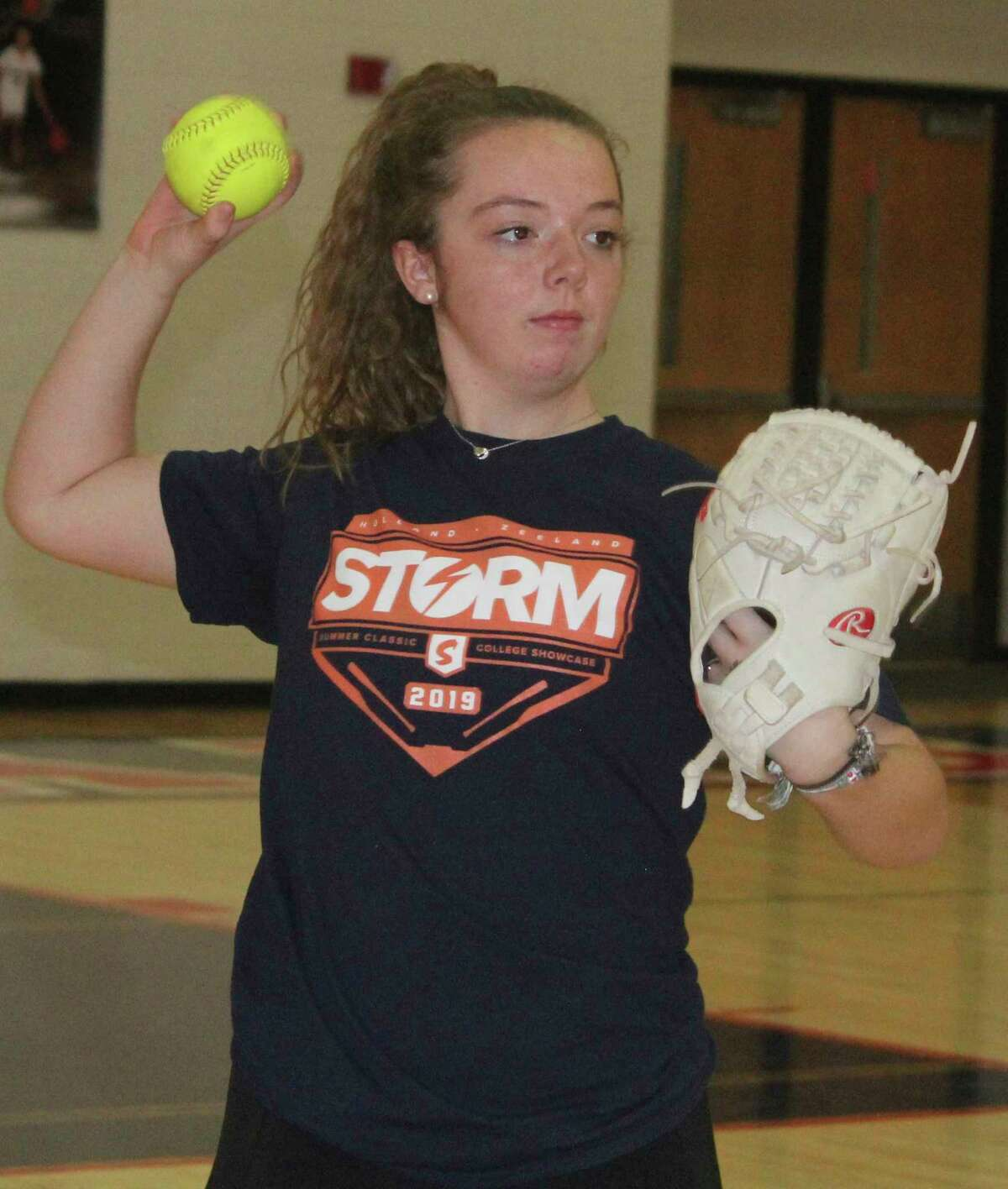 Kelby Strpko warms up her arm for Big Rapids during the preseason. (Pioneer photo file)