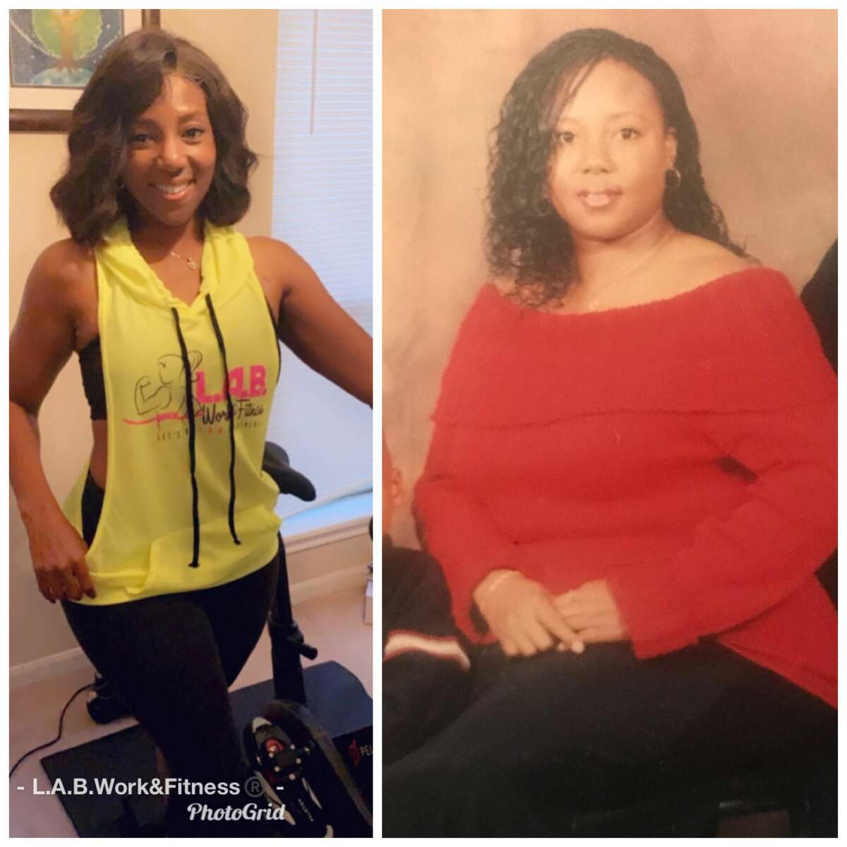 Shenese Colwell shares this before-and-after image from her weight loss journey.