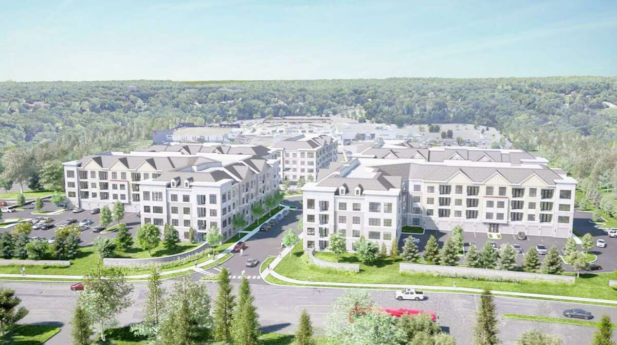 An artist rendering of the proposed Residences at Main apartment complex between Westfield Trumbull mall and the Merritt Parkway.