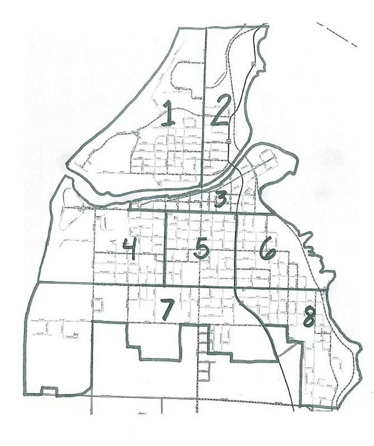 The district map provided by the Manistee Police Department shows District 1 and 2 are north Manistee River divided by Washington Street with 1 on the west side of Washington and 2 on the east side of the street and north of the river. Then Districts 3-8 south of the river in sequence. (Courtesy image)